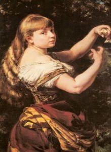 Portret córki Beaty z kanarkiem
